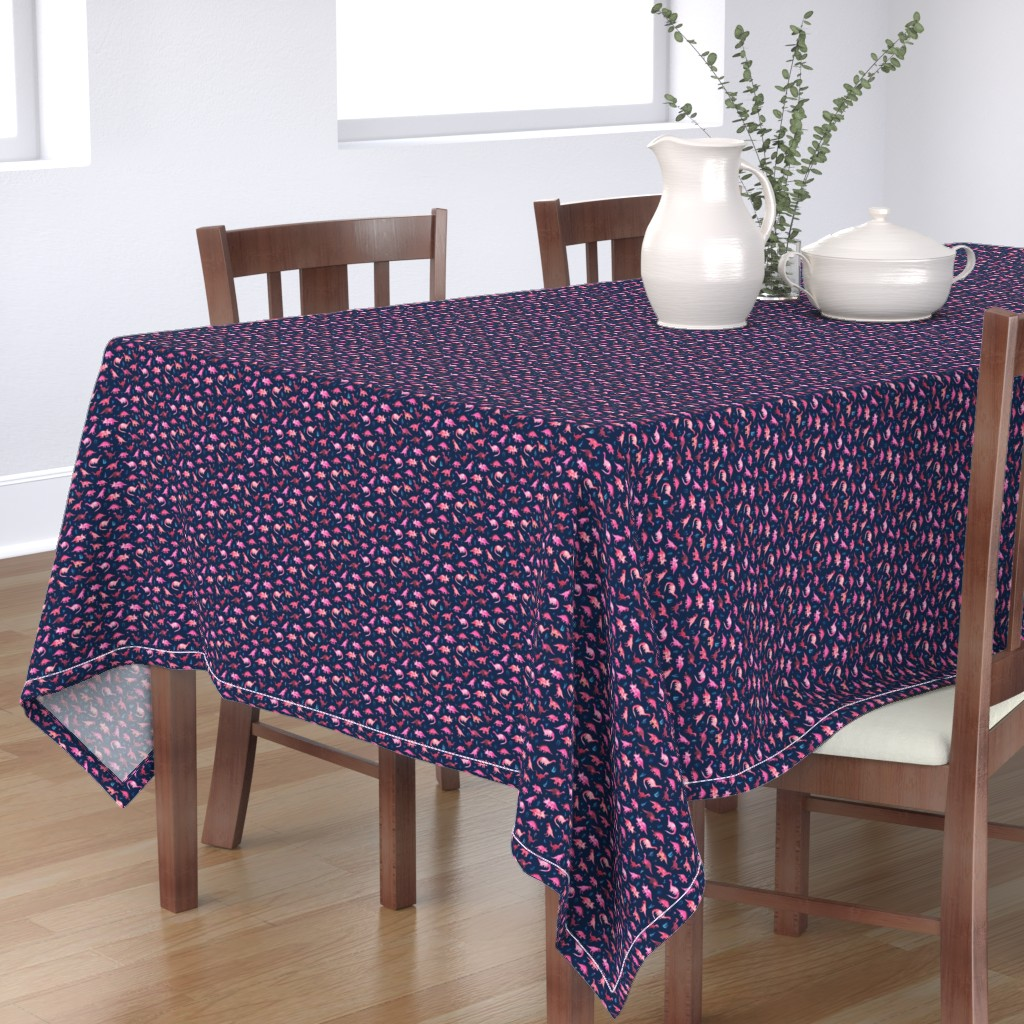 Bantam Rectangular Tablecloth featuring Extra Tiny Dinos in Magenta and Coral on Navy  by micklyn