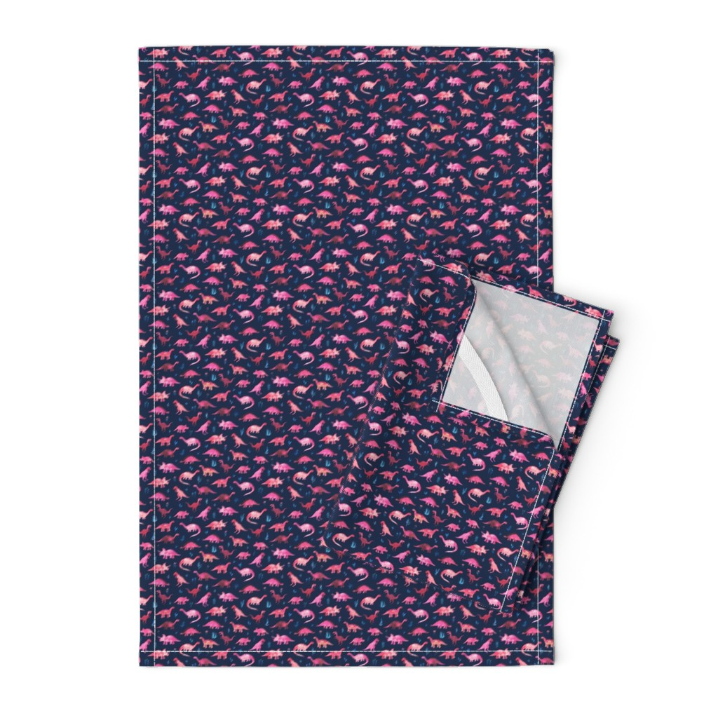 Orpington Tea Towels featuring Extra Tiny Dinos in Magenta and Coral on Navy  by micklyn