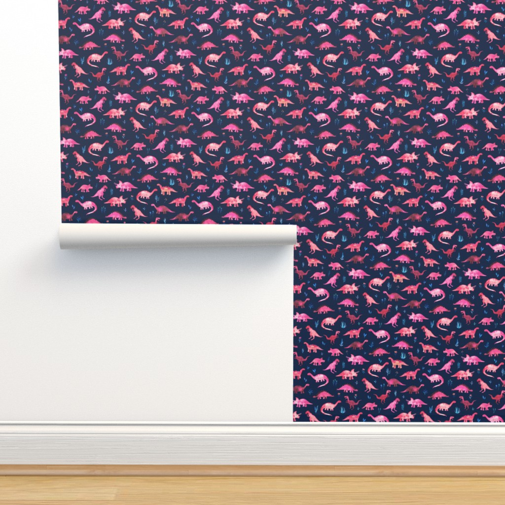 Isobar Durable Wallpaper featuring Extra Tiny Dinos in Magenta and Coral on Navy  by micklyn