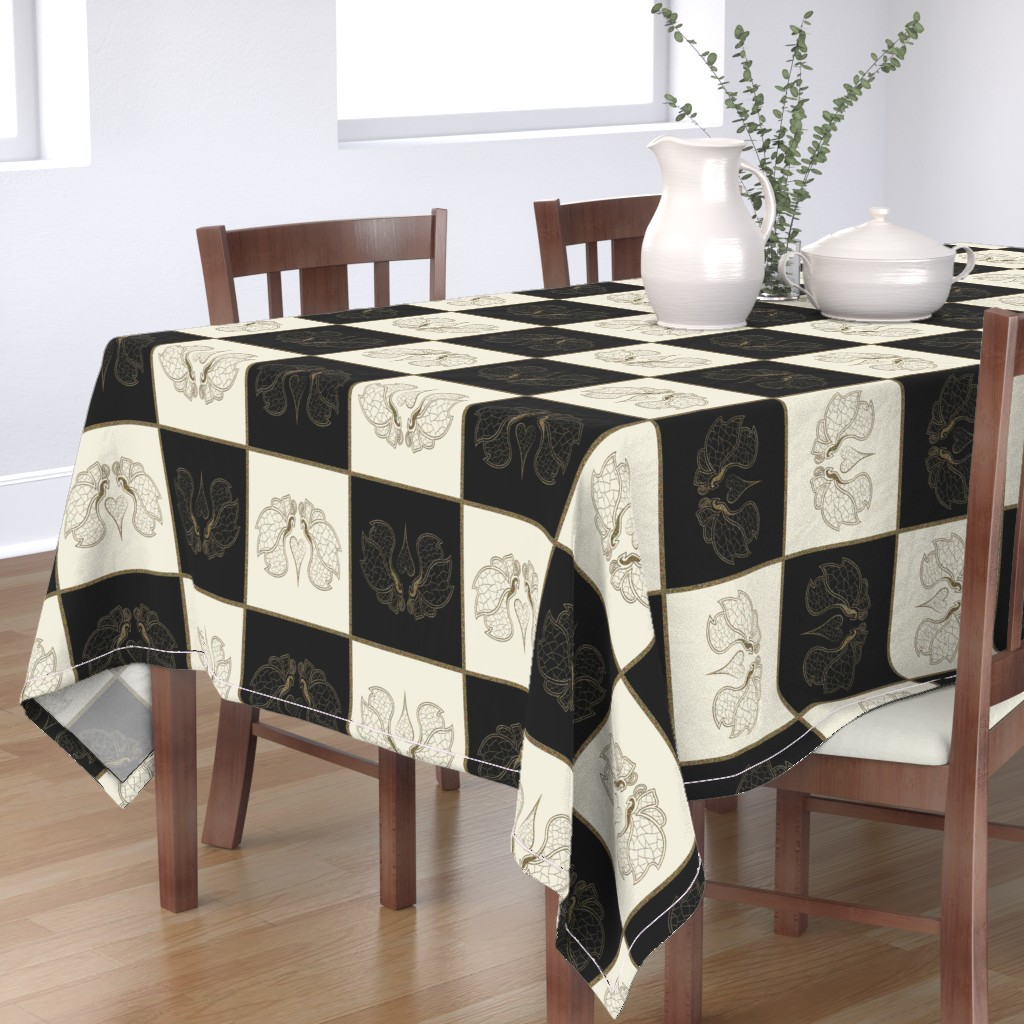 Bantam Rectangular Tablecloth featuring Art butterfly chess, pristine & black by ejmart