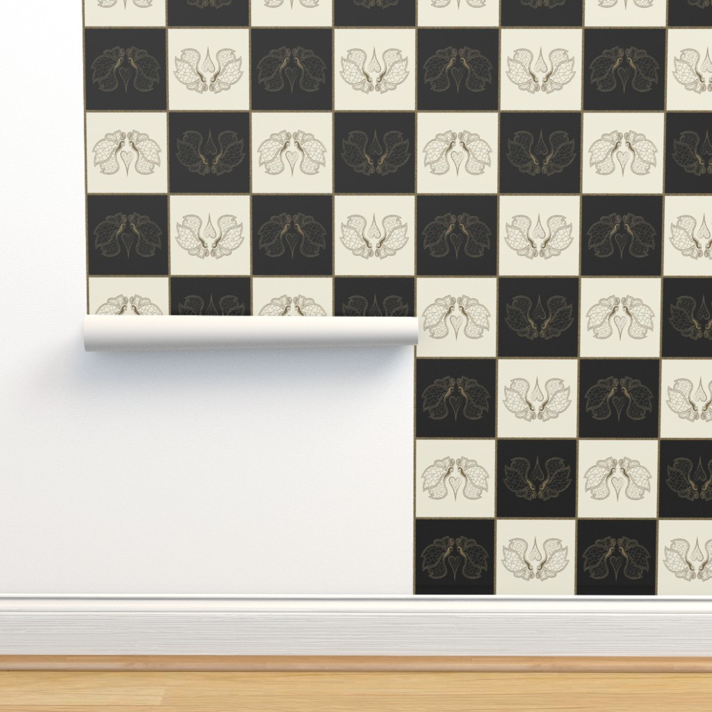Isobar Durable Wallpaper featuring Art butterfly chess, pristine & black by ejmart