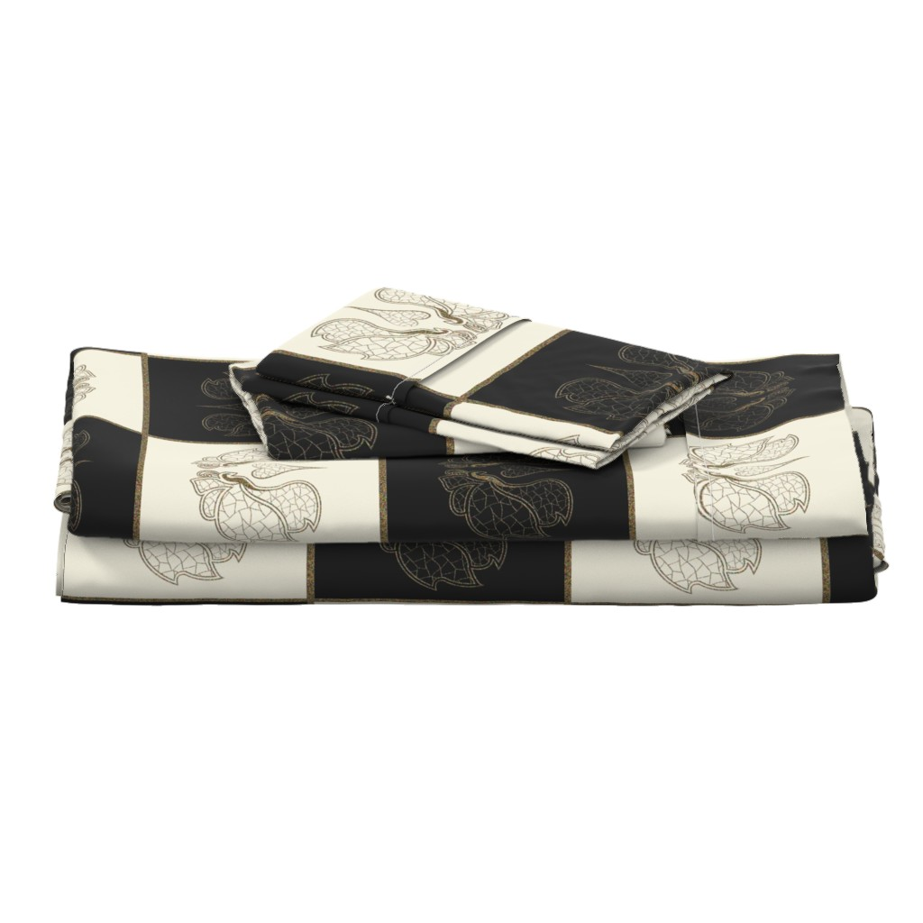 Langshan Full Bed Set featuring Art butterfly chess, pristine & black by ejmart