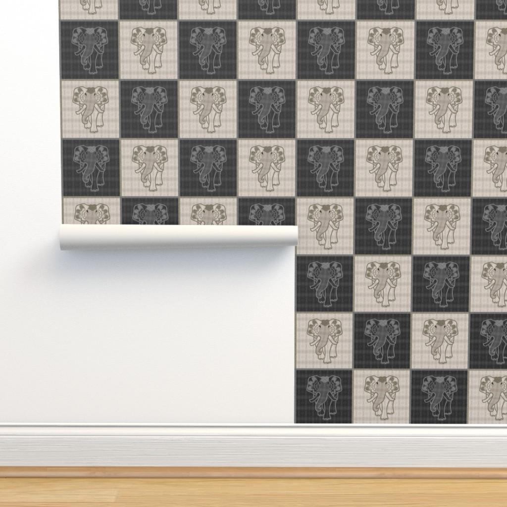 Isobar Durable Wallpaper featuring Art elephant chess, light & dark by ejmart