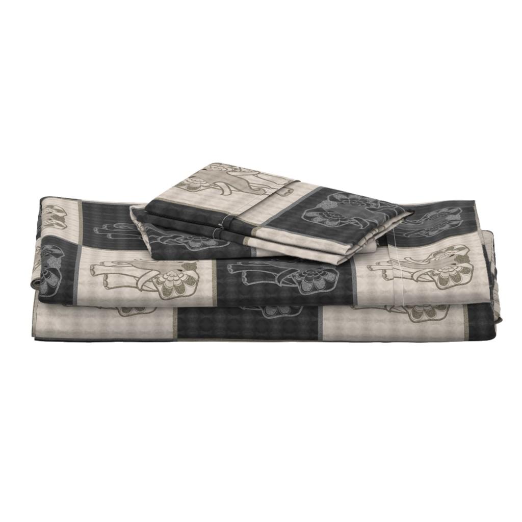 Langshan Full Bed Set featuring Art elephant chess, light & dark by ejmart