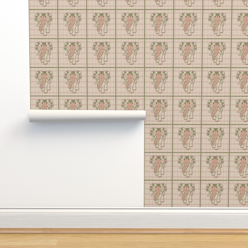 Isobar Durable Wallpaper featuring Art elephant chess, soft rose by ejmart