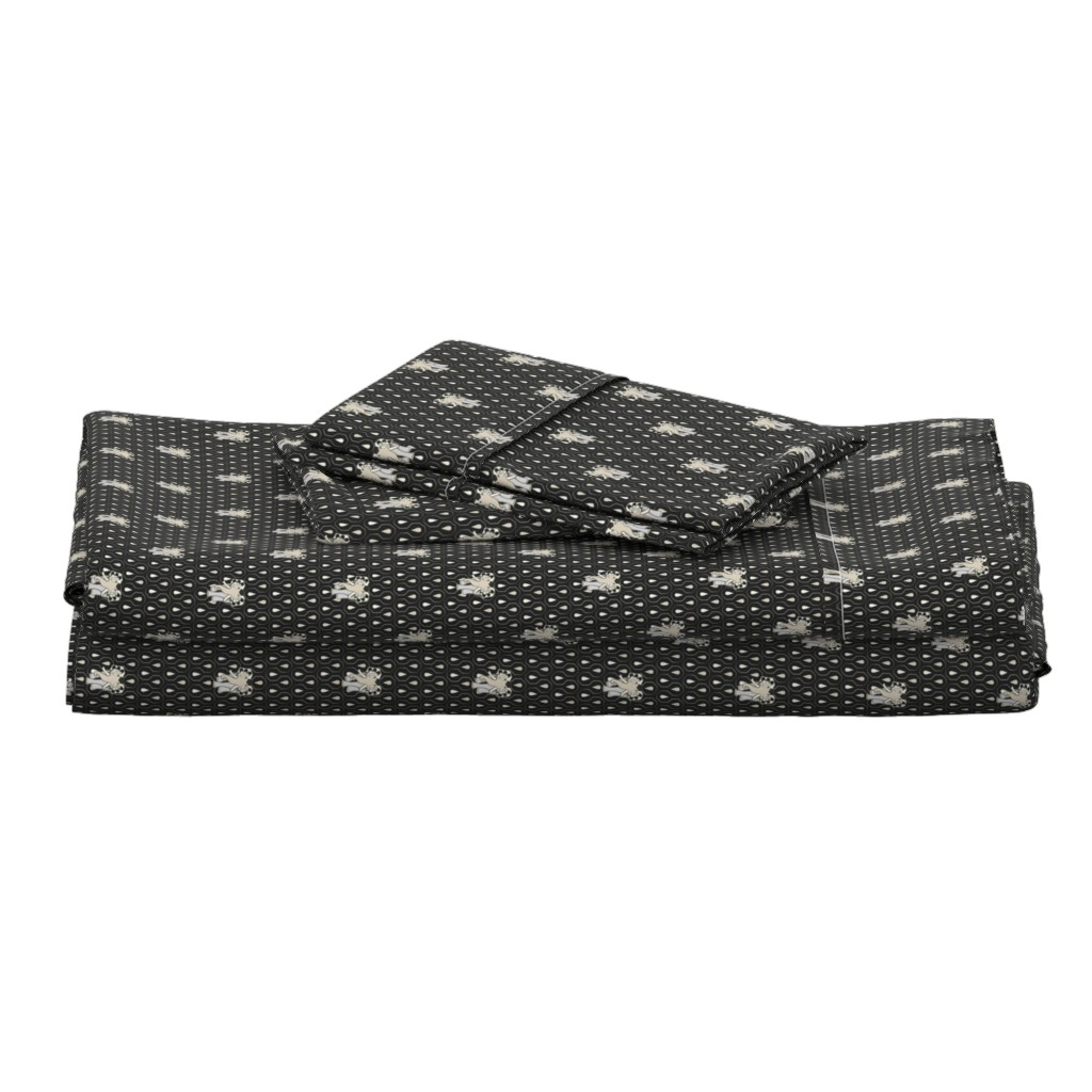 Langshan Full Bed Set featuring Art EleDroplets, black by ejmart