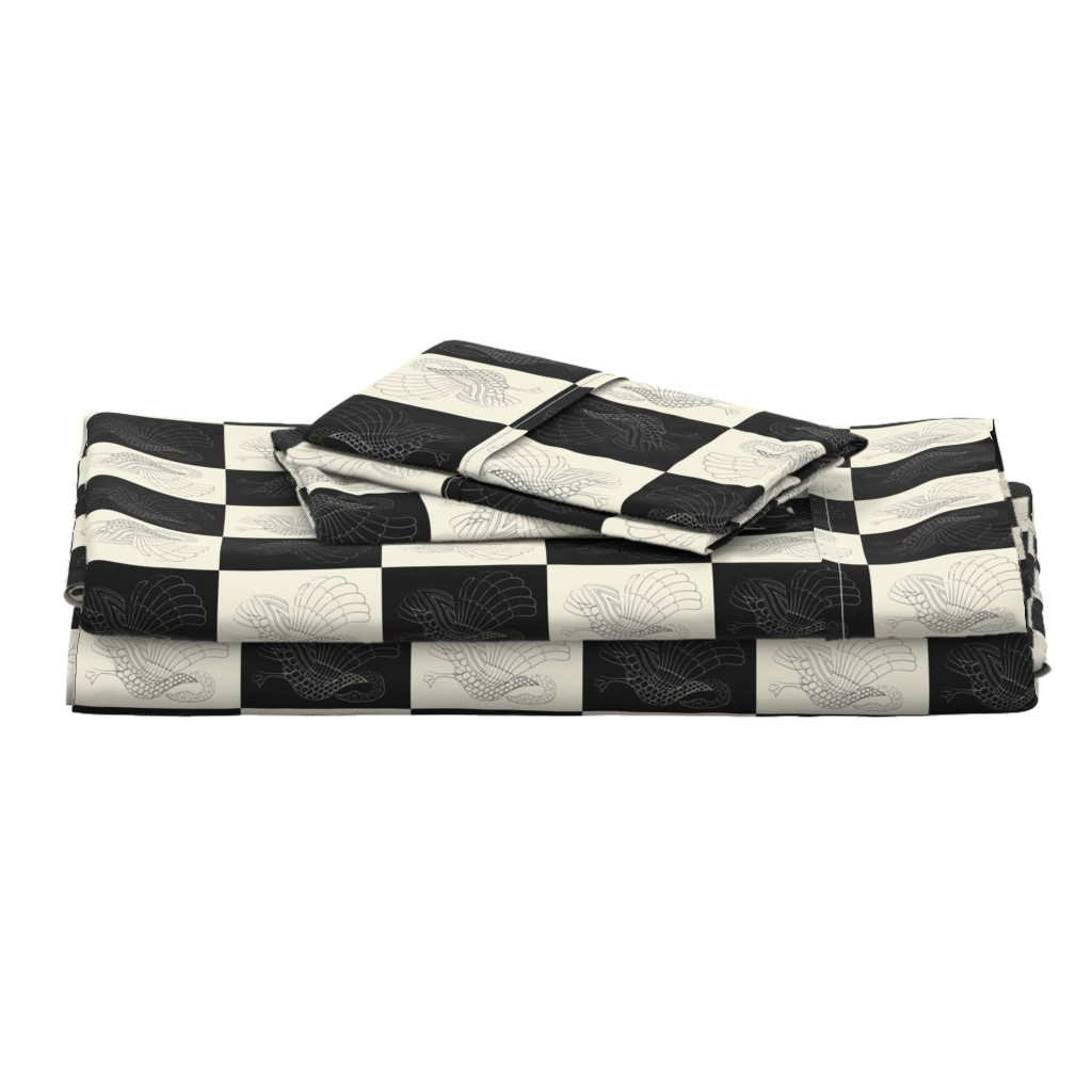 Langshan Full Bed Set featuring Art swan chess pristine/black by ejmart