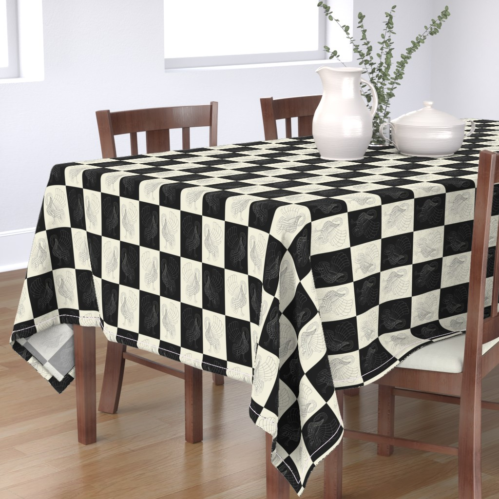 Bantam Rectangular Tablecloth featuring Art swan chess pristine/black by ejmart