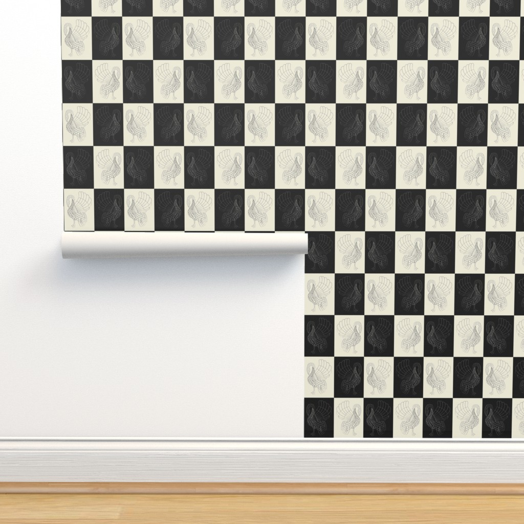 Isobar Durable Wallpaper featuring Art swan chess pristine/black by ejmart