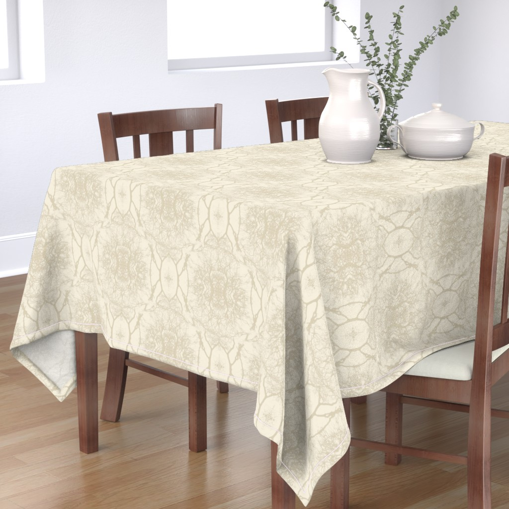 Bantam Rectangular Tablecloth featuring Dream branches, pristine & silver cloud by ejmart