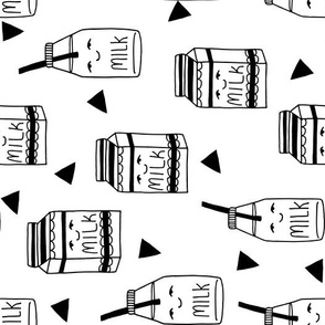 milk // black and white kids food hand-drawn illustration fabric pattern railroad