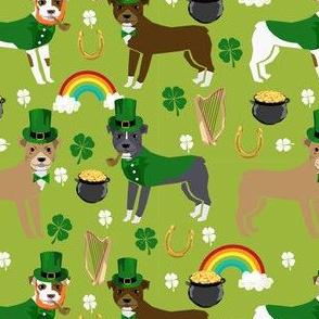 pitbull leprechaun fabric - st pattys day st. patricks day dog design - lime
