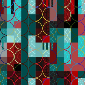 red and turquoise rectangles & circles