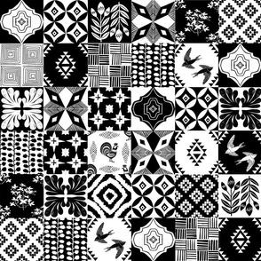 """Spanish Tiles - 3"""" linocut black and white tiles by Andrea Lauren"""