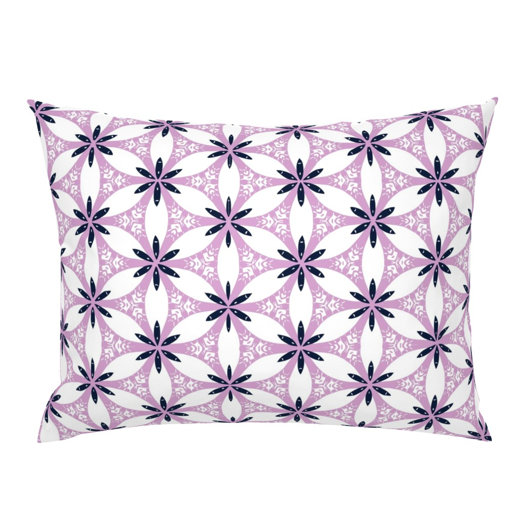 Campine Pillow Sham featuring Snow Lily Lattice - Orchid & Navy by stephaniecolecreations