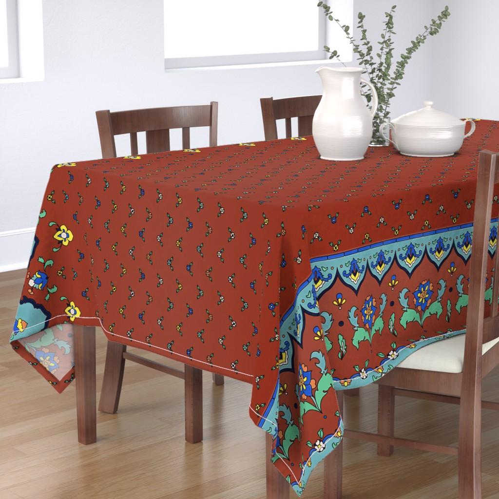Bantam Rectangular Tablecloth featuring Cuerda Seca Border Adamson House by ghouk
