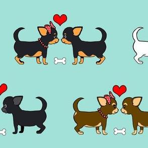Chihuahuas Love Couples aqua M