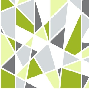Geometric Pattern in Lime Green, Yellow and Gray