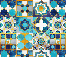 Normal scale // Spanish tiles inspiration // turquoise blue golden lines