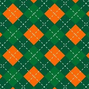 Saint Patricks Day Green Orange Argyle Plaid St. Patricks Day