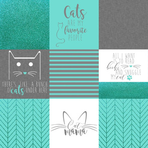 """6"""" #CatMom Faux Quilt Mint & Gray"""