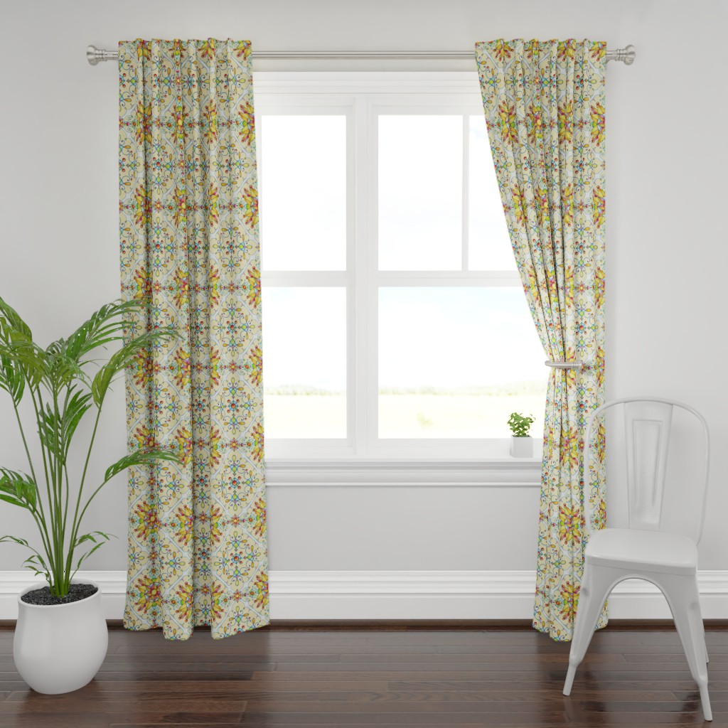 Plymouth Curtain Panel featuring Alhambra Arabesque by patriciasheadesigns