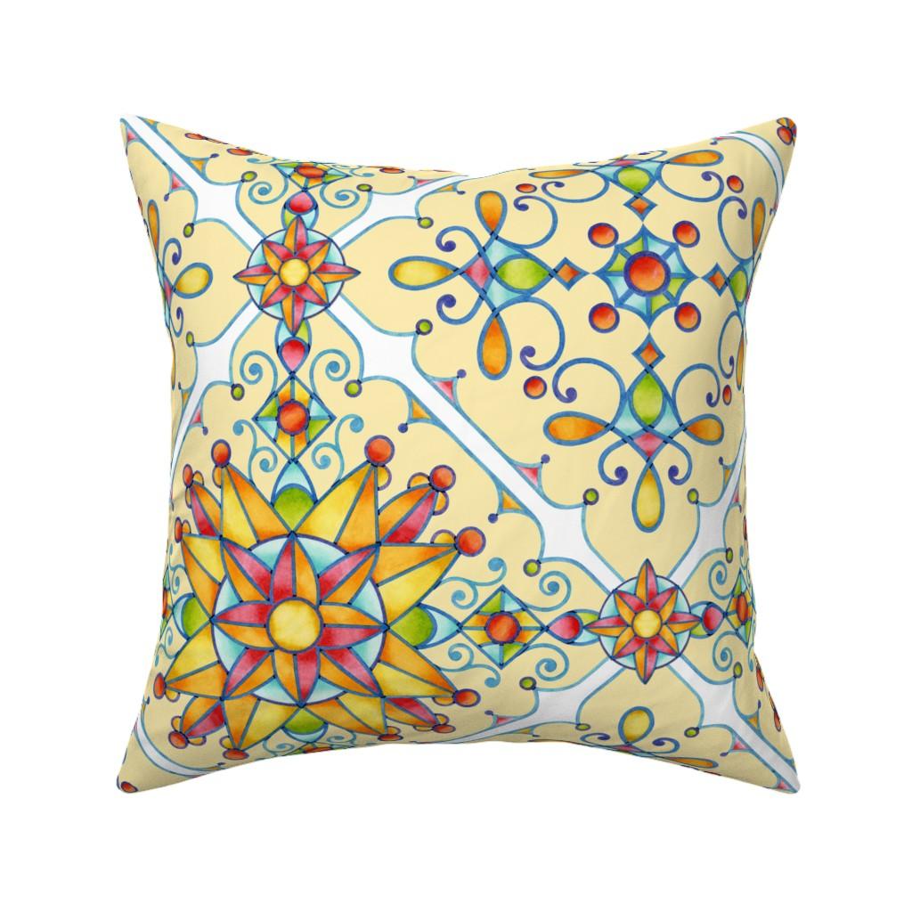 Catalan Throw Pillow featuring Alhambra Arabesque by patriciasheadesigns