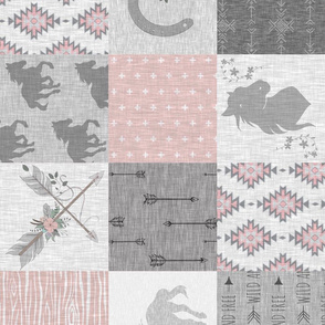 BoHo Horse Quilt - pink and grey - ROTATED