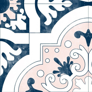 """36"""" Huge Navy and Pink Spanish Tiles"""