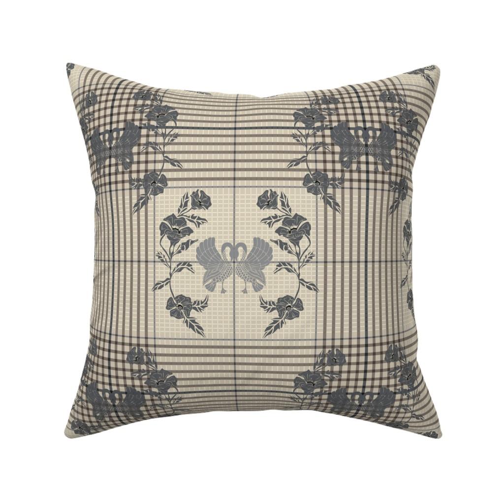 Catalan Throw Pillow featuring Art check, silver cloud by ejmart