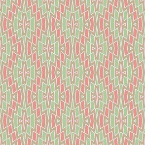 Tribal Diamond Pattern in Peach, Green and Tan