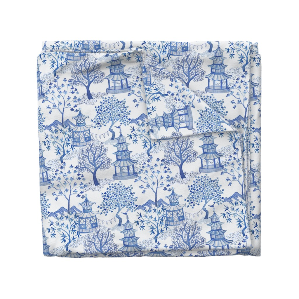 Wyandotte Duvet Cover featuring Pagoda Forest in Blues by danika_herrick