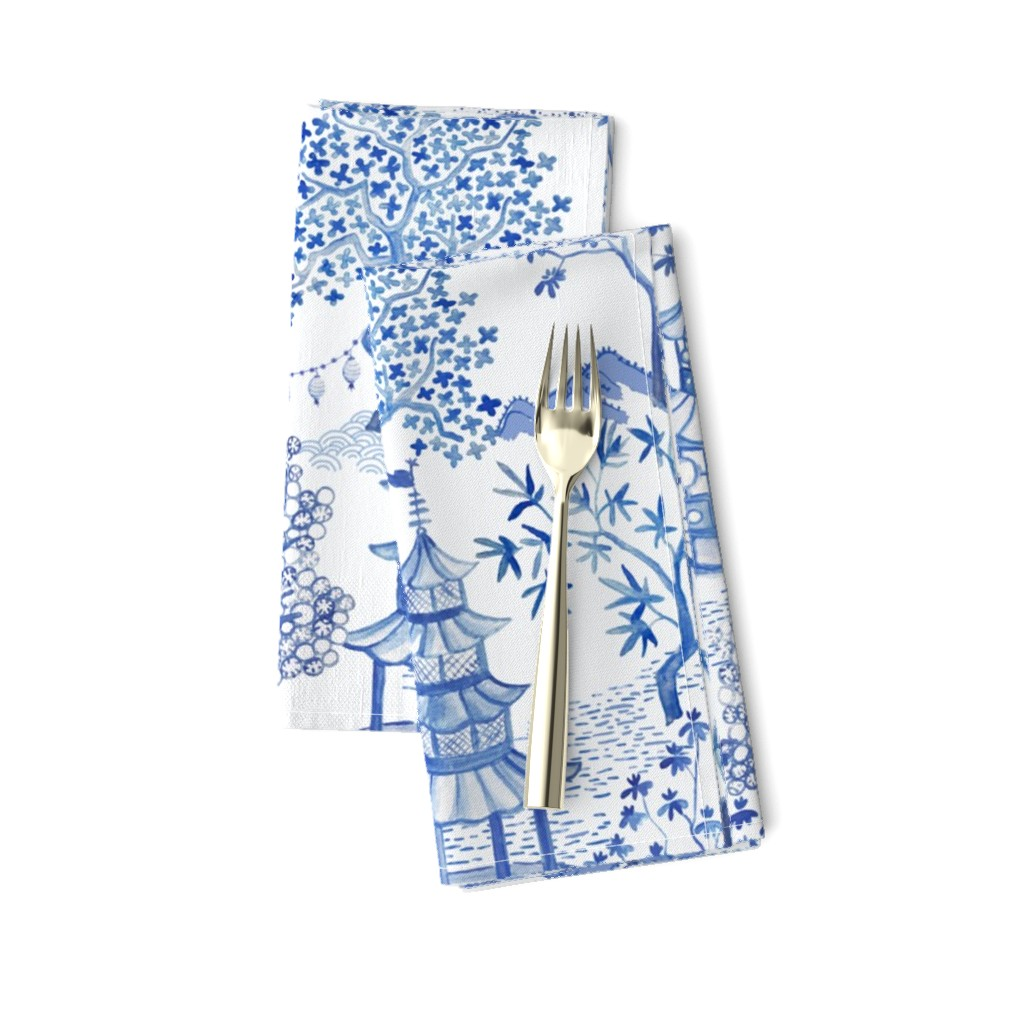 Amarela Dinner Napkins featuring Pagoda Forest in Blues by danika_herrick