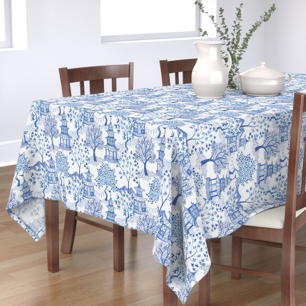 Bantam Rectangular Tablecloth featuring Pagoda Forest in Blues by danika_herrick