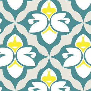 GARDEN DAMASK yellow/teal