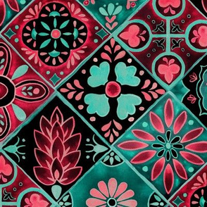 Watercolor Talavera Tiles- Pink and Green // spanish mexican ceramic diamond floral tile neon green mint emerald rose pink black fabric