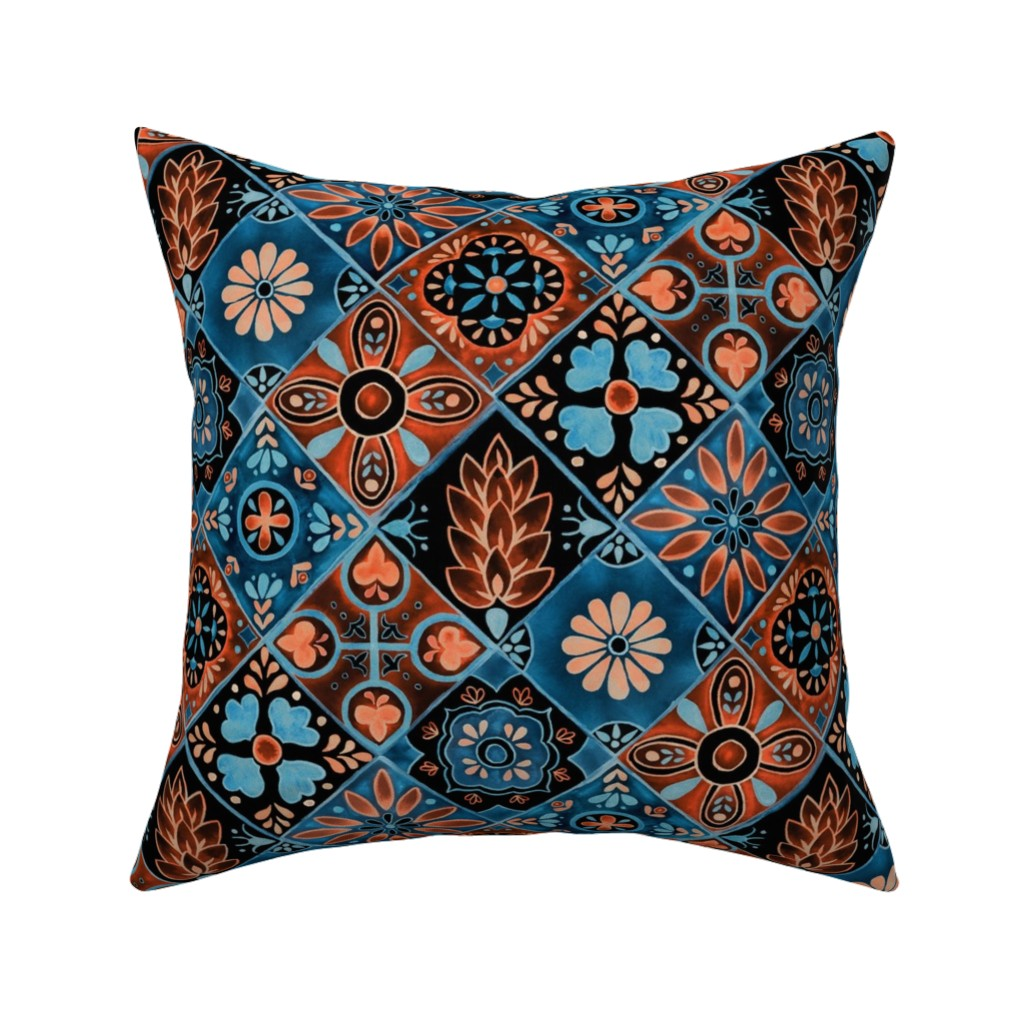 Catalan Throw Pillow featuring Watercolor Talavera Tiles- Blue and Orange // spanish mexican ceramic diamond floral tile neon blue orange black fabric by liz_sawyer_design
