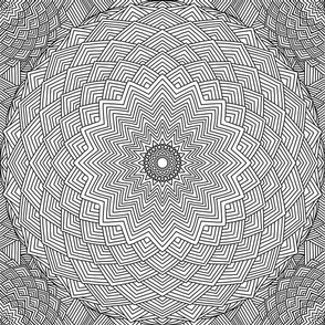 Mandala Black and White Starburst