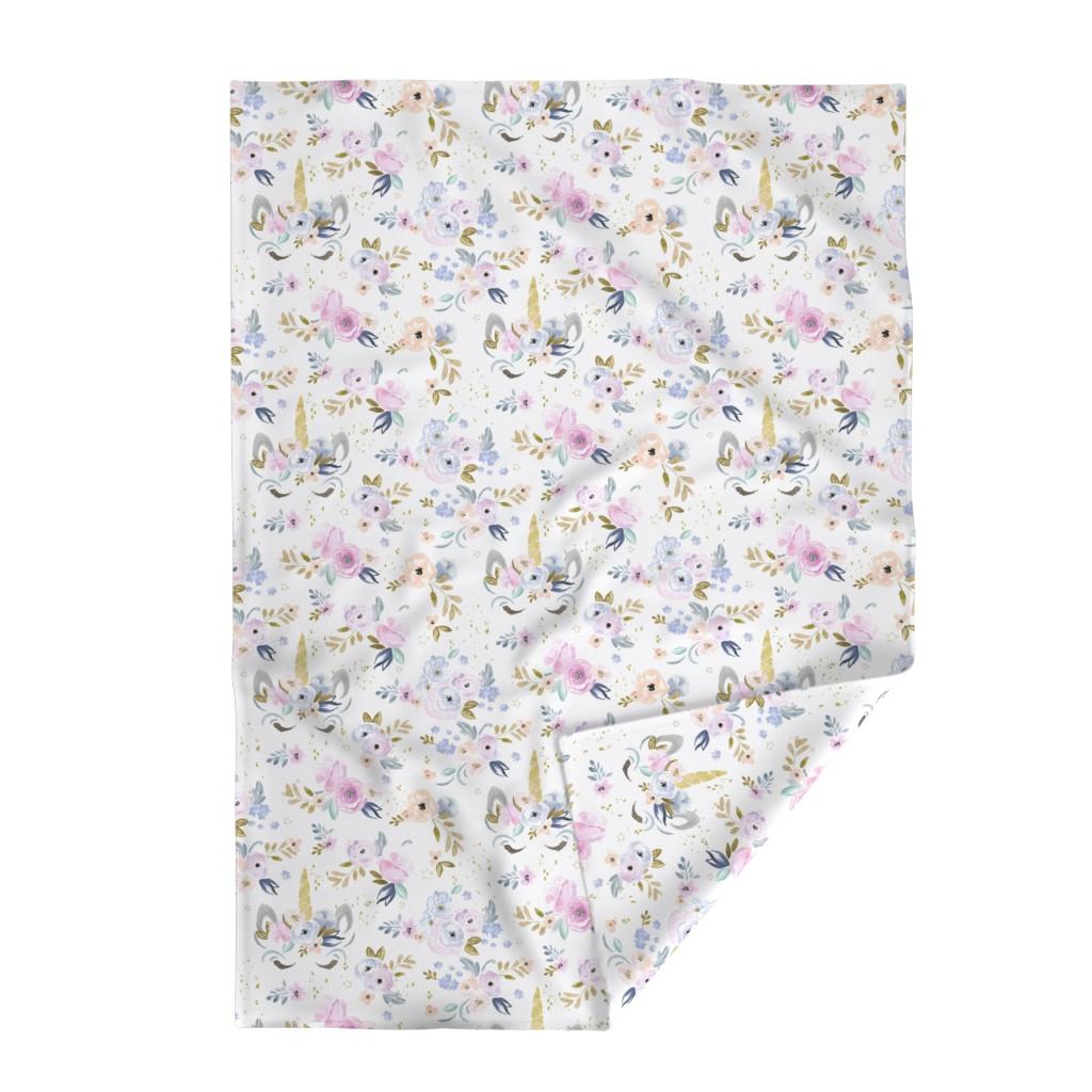 Lakenvelder Throw Blanket featuring unicorn floral-twilight by crystal_walen