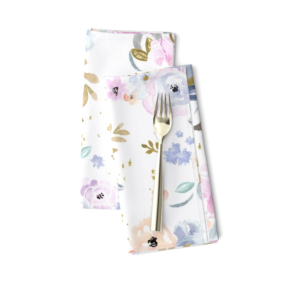 Amarela Dinner Napkins featuring unicorn floral-twilight by crystal_walen