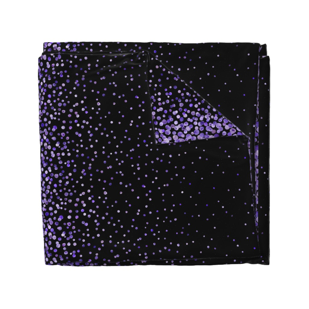 Wyandotte Duvet Cover featuring purple watercolor dots on black double border by ghouk