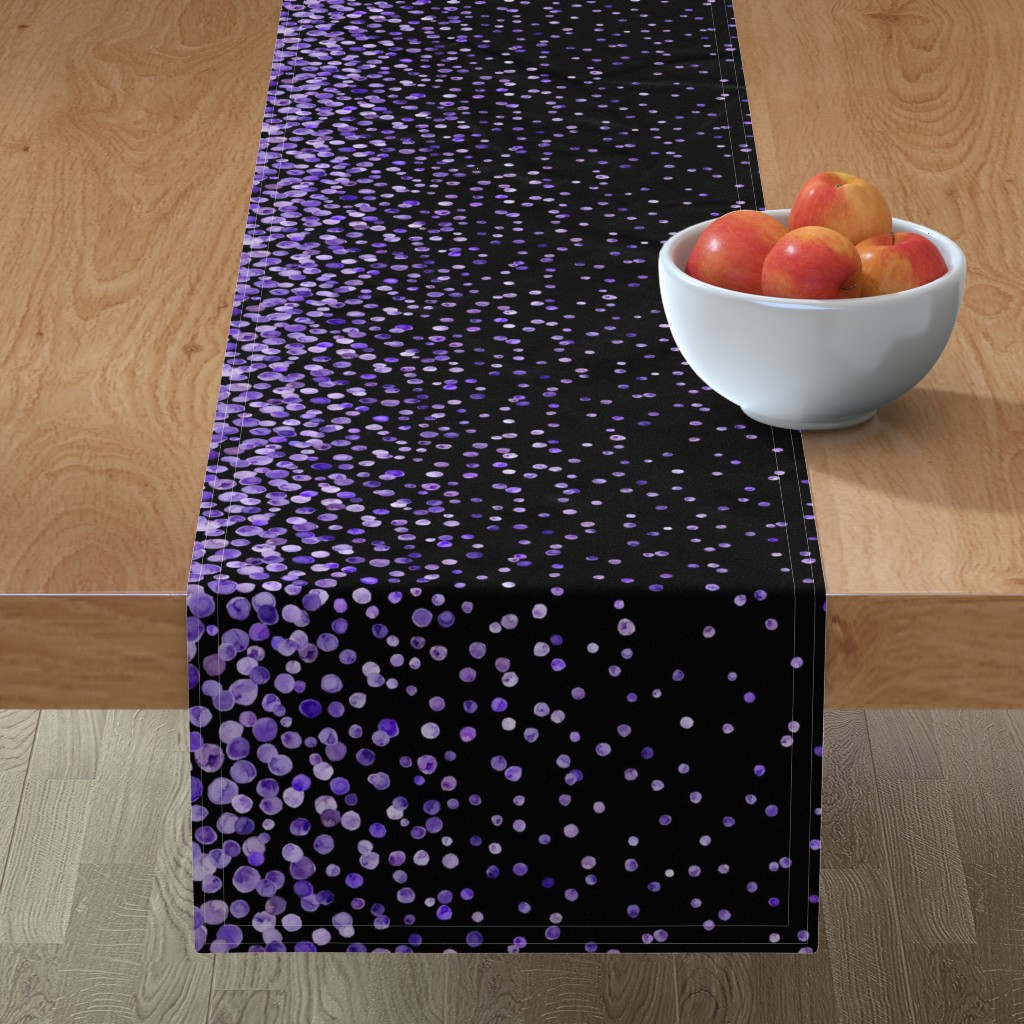 Minorca Table Runner featuring purple watercolor dots on black double border by ghouk