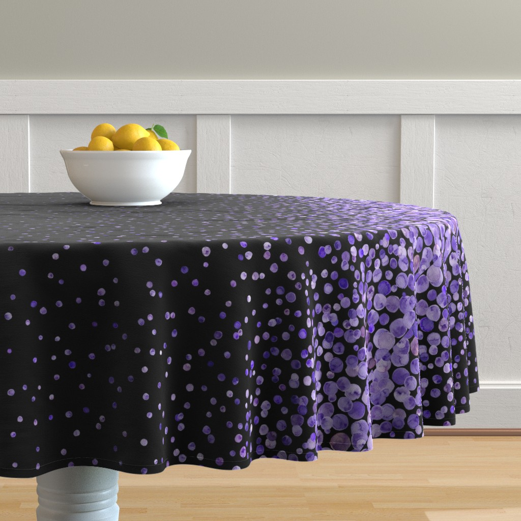 Malay Round Tablecloth featuring purple watercolor dots on black double border by ghouk