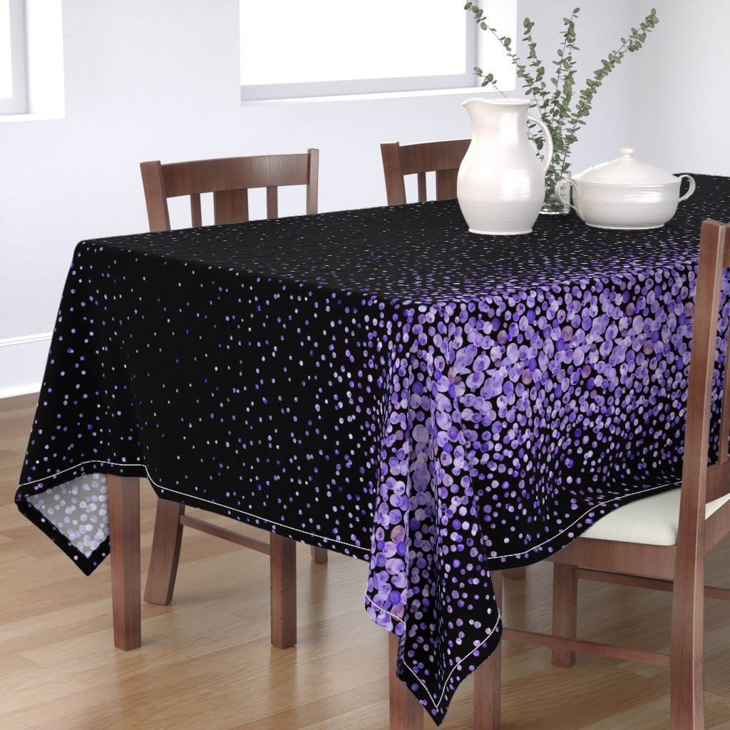 Bantam Rectangular Tablecloth featuring purple watercolor dots on black double border by ghouk
