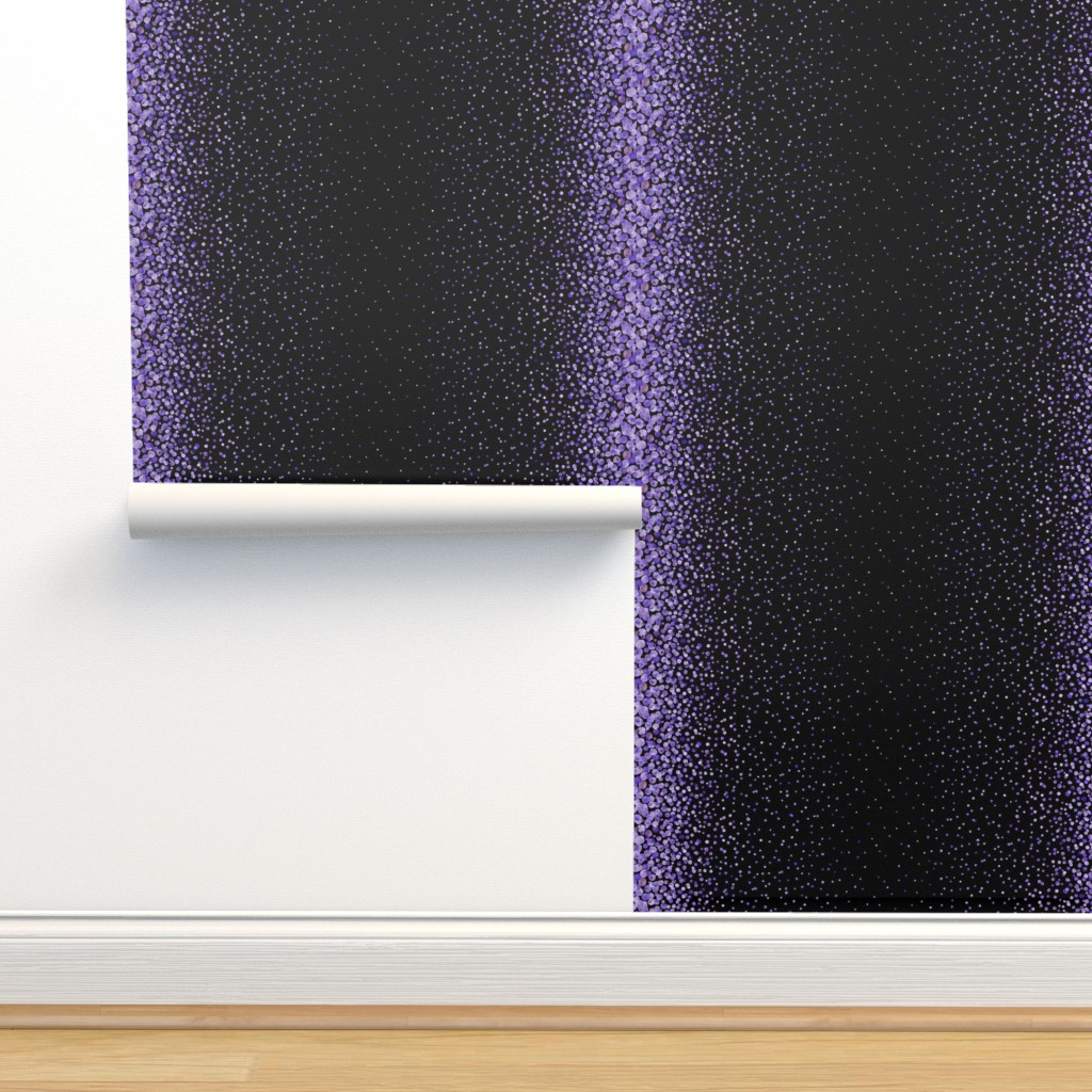 Isobar Durable Wallpaper featuring purple watercolor dots on black double border by ghouk