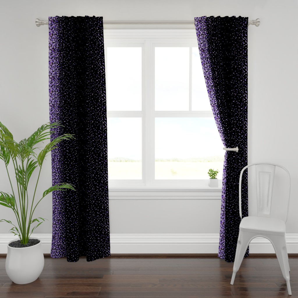 Plymouth Curtain Panel featuring purple watercolor dots on black double border by ghouk