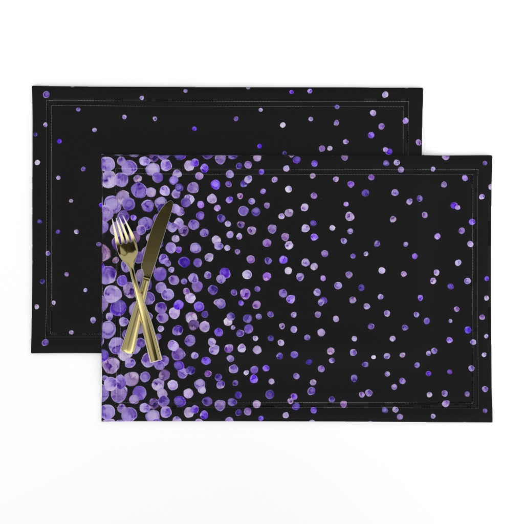 Lamona Cloth Placemats featuring purple watercolor dots on black double border by ghouk