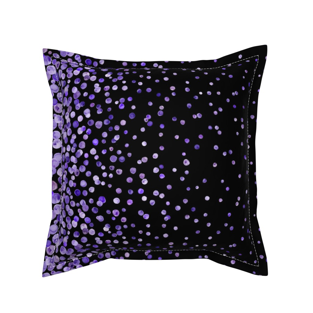 Serama Throw Pillow featuring purple watercolor dots on black double border by ghouk