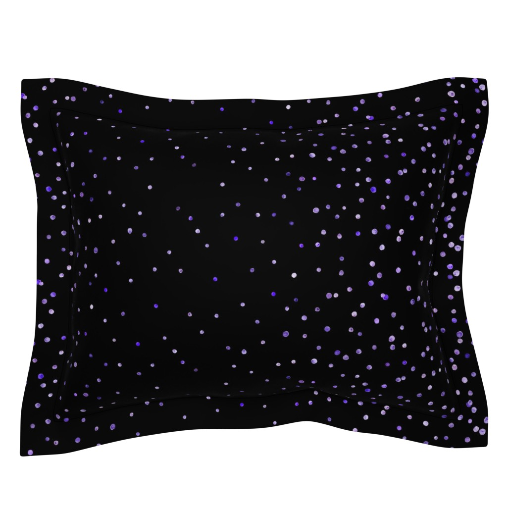 Sebright Pillow Sham featuring purple watercolor dots on black double border by ghouk