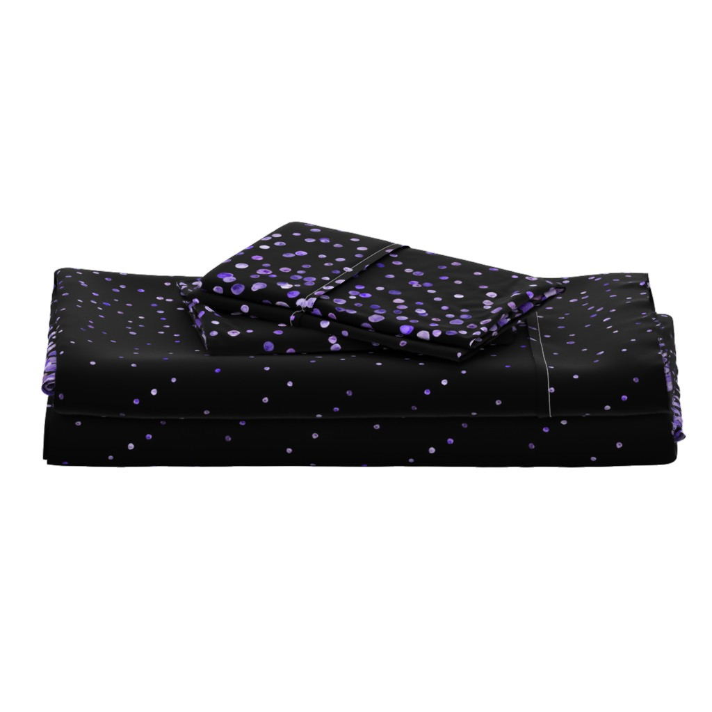 Langshan Full Bed Set featuring purple watercolor dots on black double border by ghouk